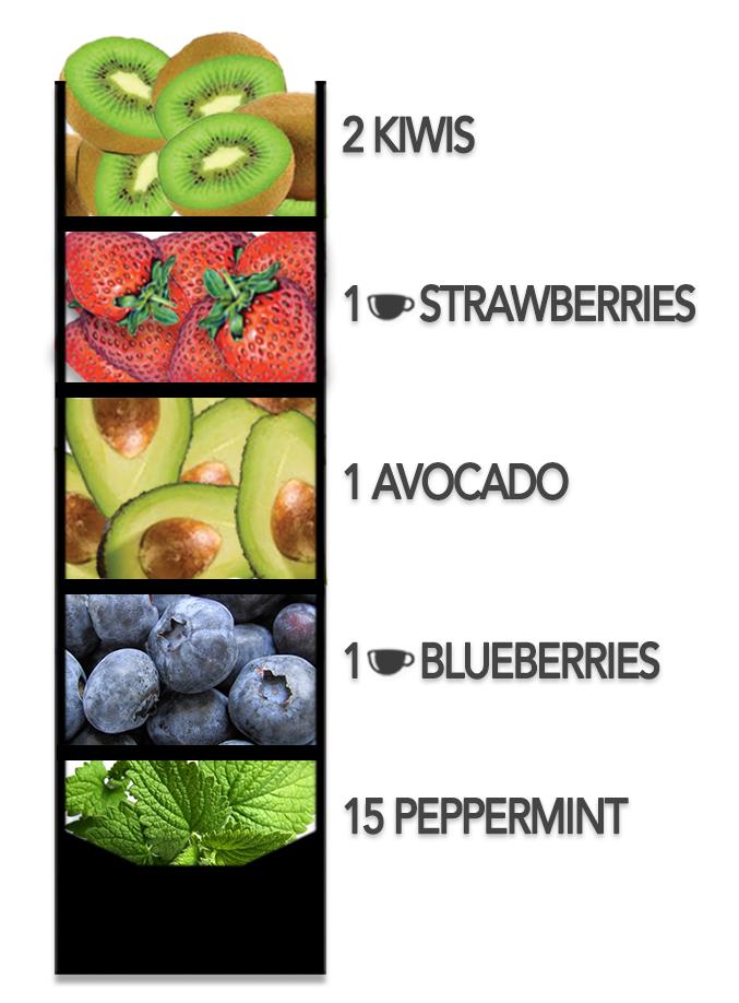 Fruit-Smoothie-Kiwis-Strawberries-Avocado-Blueberries-Peppermint-Leaves
